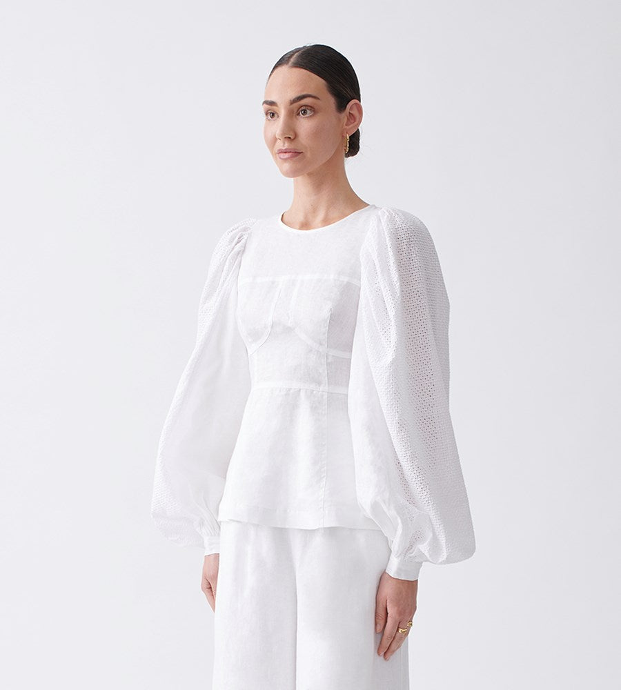 Joslin | Reagan Linen Crochet Top | Optical White