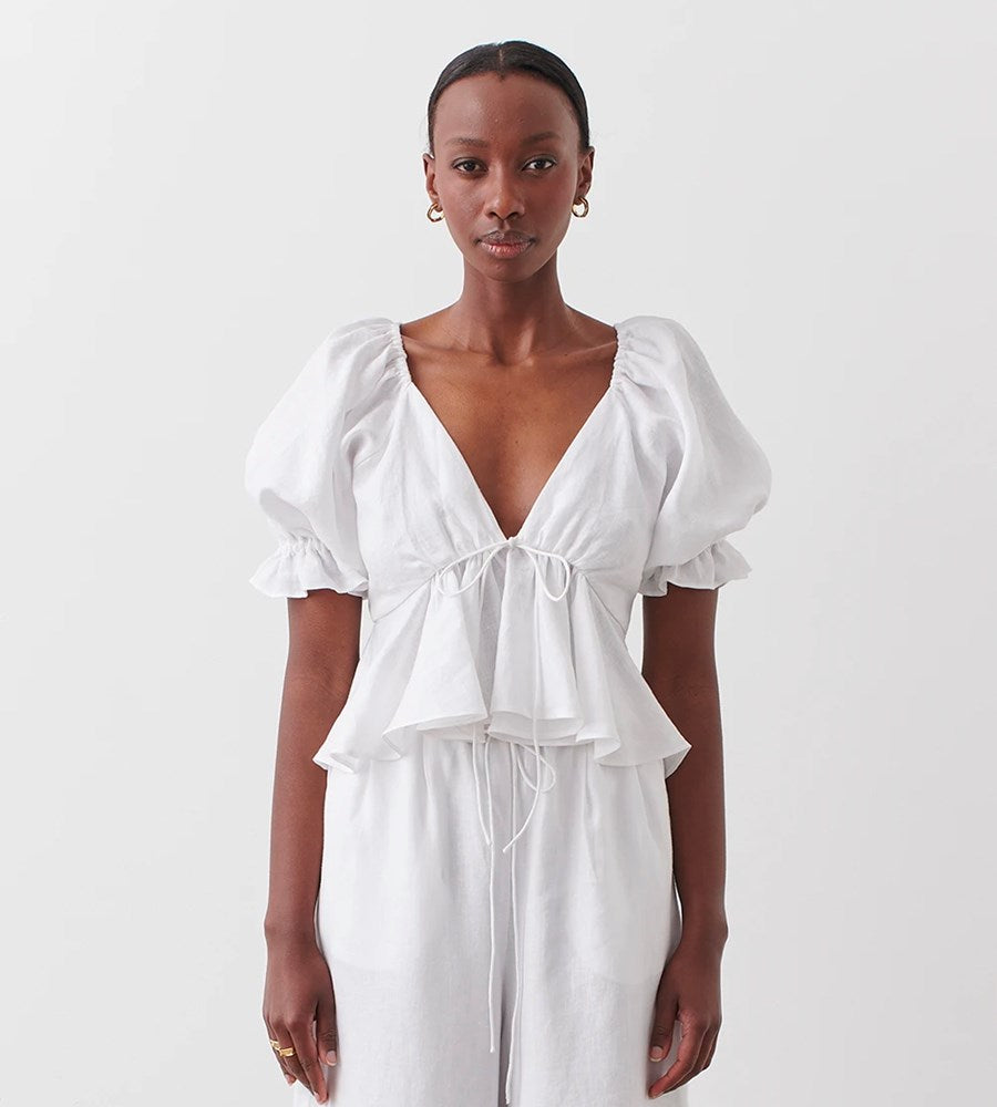 Joslin | Sophia Linen Top | Optical White