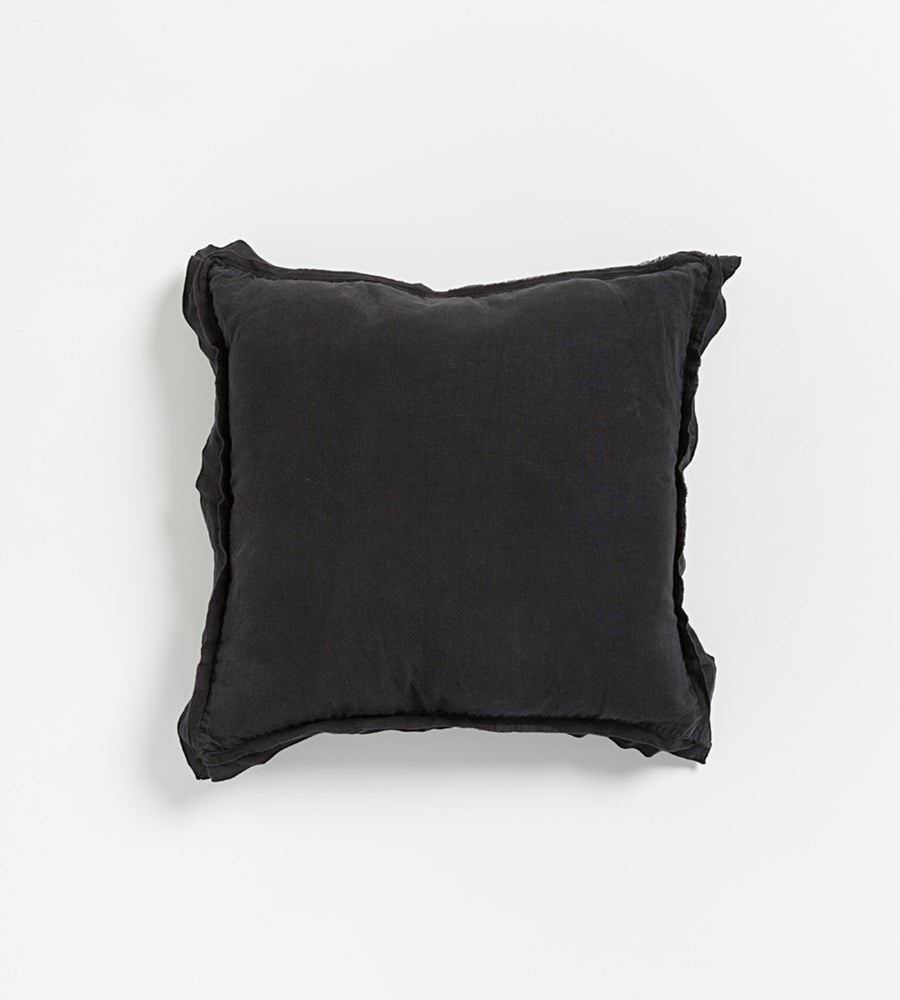 Kip Linen Cushion Black