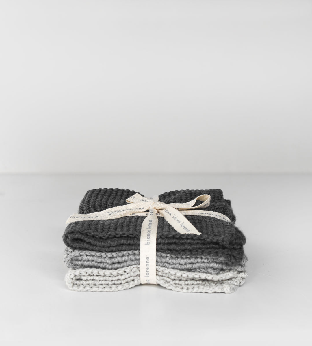 Knitted Cloths | Set of 3 | Charcoal & Grey