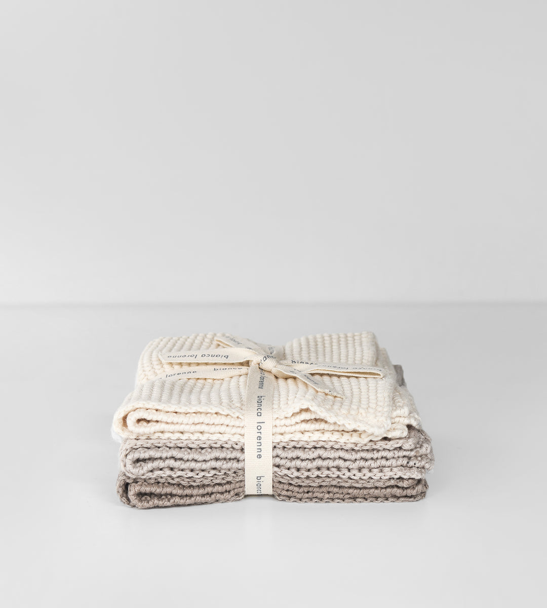 Knitted Cloths | Set of 3 | Cream & Taupe