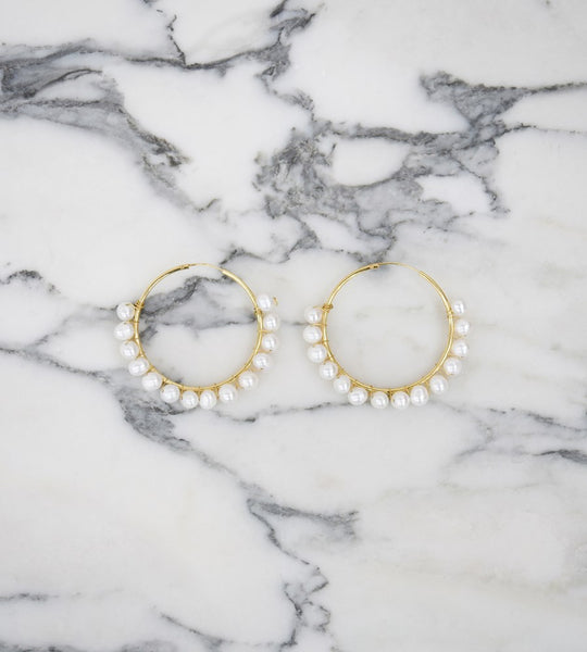 La Tribe Cosmia Pearl Earrings Gold
