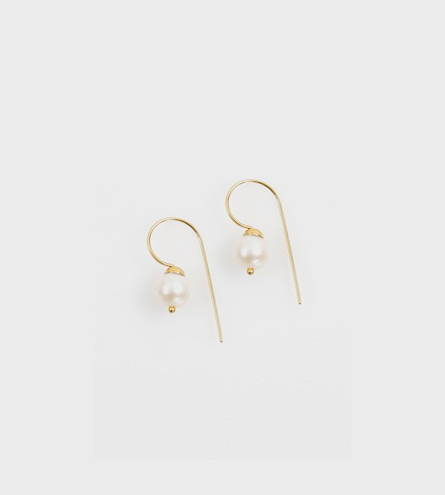 La Tribe | Dangle Hook Pearl Earrings | Gold