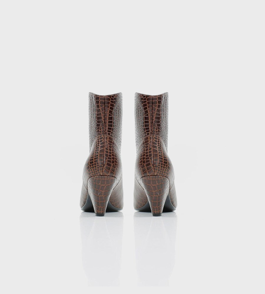 La Tribe | Beth Mid Boot | Crocodile Brown