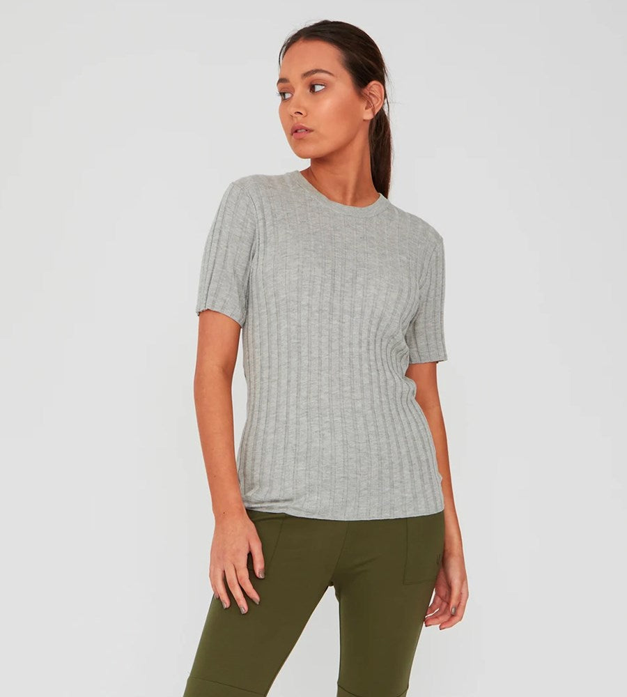 Marlow | Revolve Knit Tee | Silver Marle