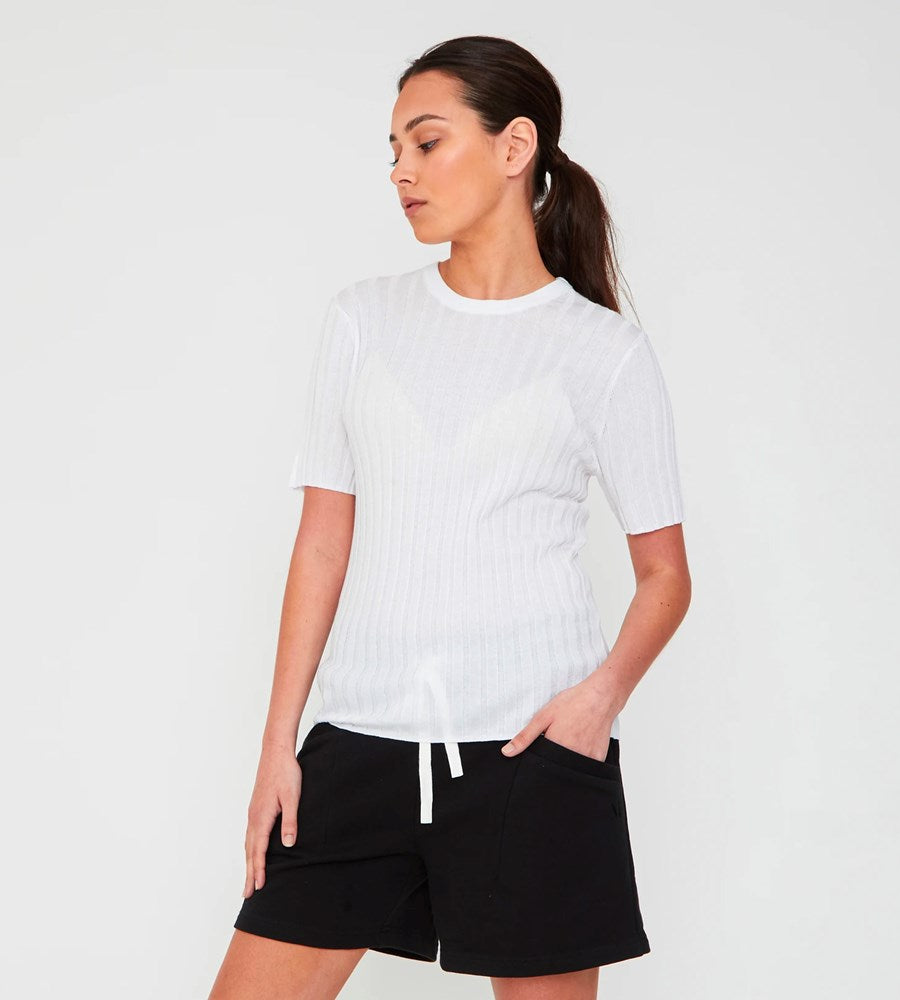 Marlow | Revolve Knit Tee | White