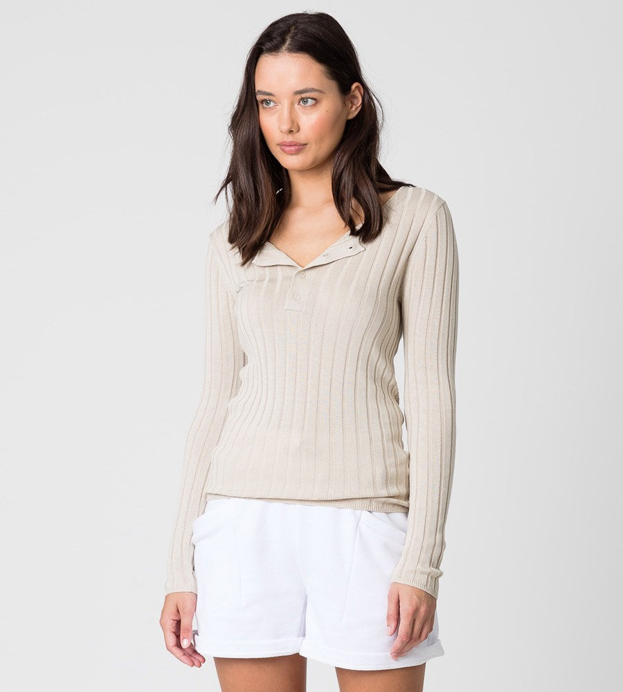 Marlow | Savanna Knit Henley | Natural