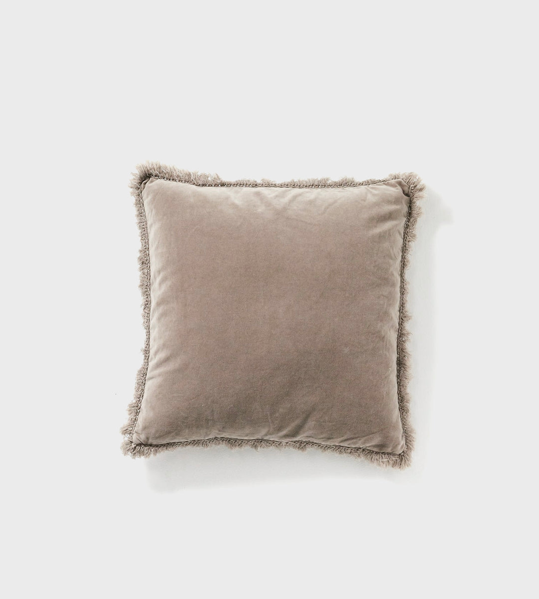 Martha | Velvet Cushion | Fringed Taupe