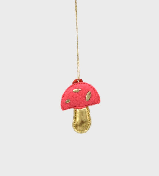 Christmas Decoration Mini Woodland Felt Pink & Gold Mushroom