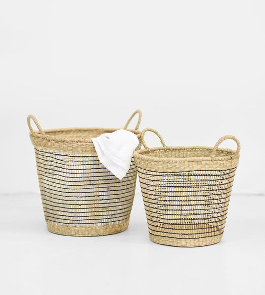 Natural Black Open Weave Wide Basket with Handles