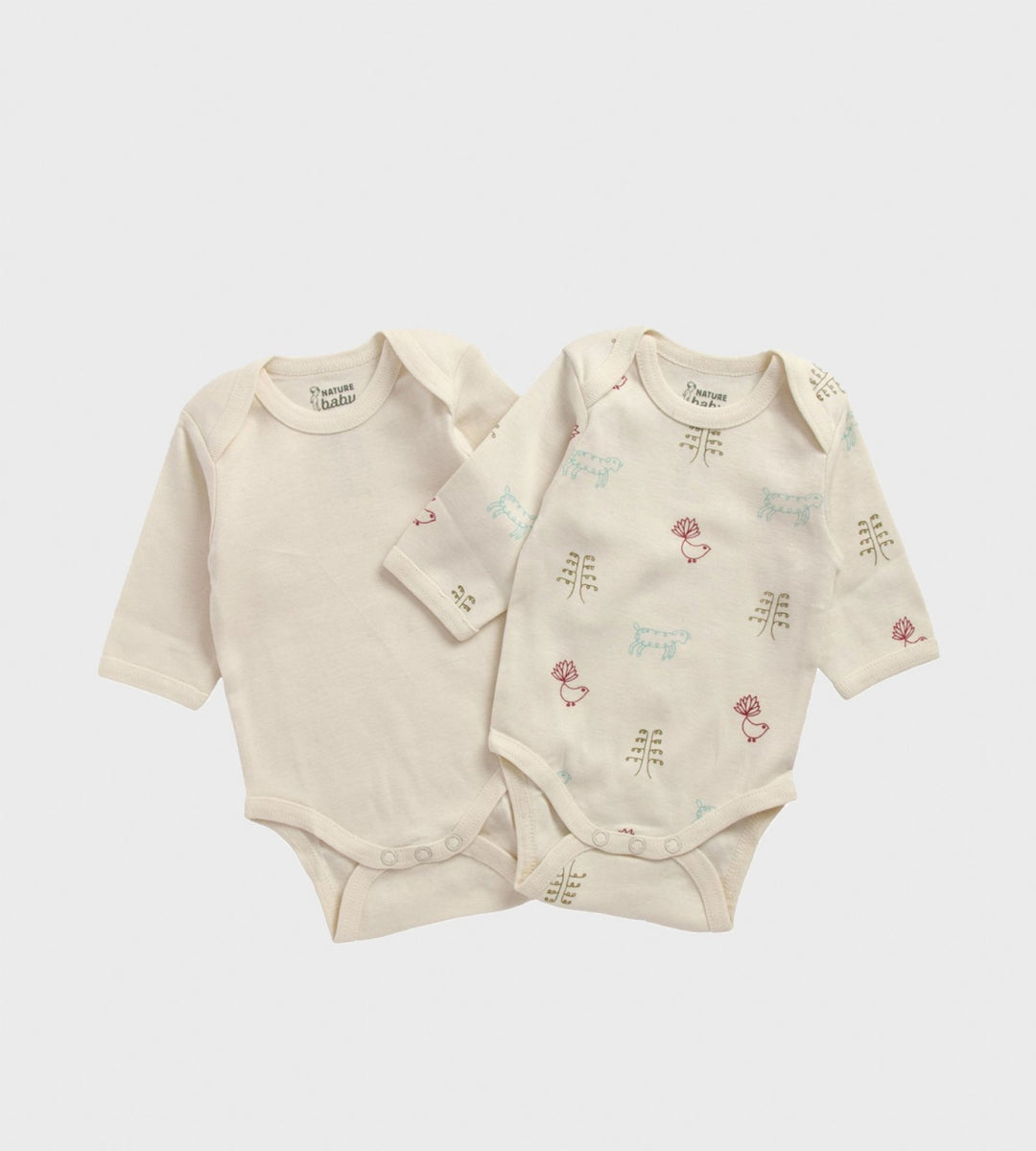 Nature Baby | Two Pack Long Sleeve Bodysuits | Natural & Nature Baby Print