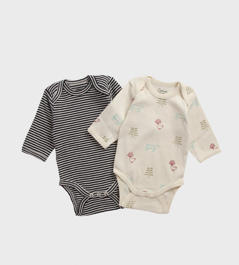 Nature Baby | Two Pack Long Sleeve Bodysuits | Navy Stripe & Nature Baby Print