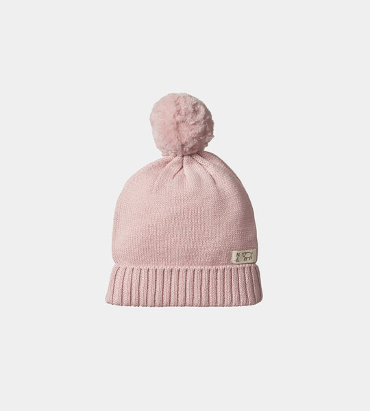 Nature Baby | Alpine Pom Pom Beanie Hat | Rose Bud