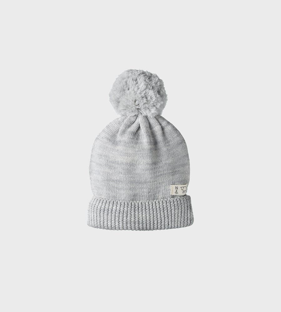 Nature Baby | Alpine Pom Pom Beanie | Light Grey Marl