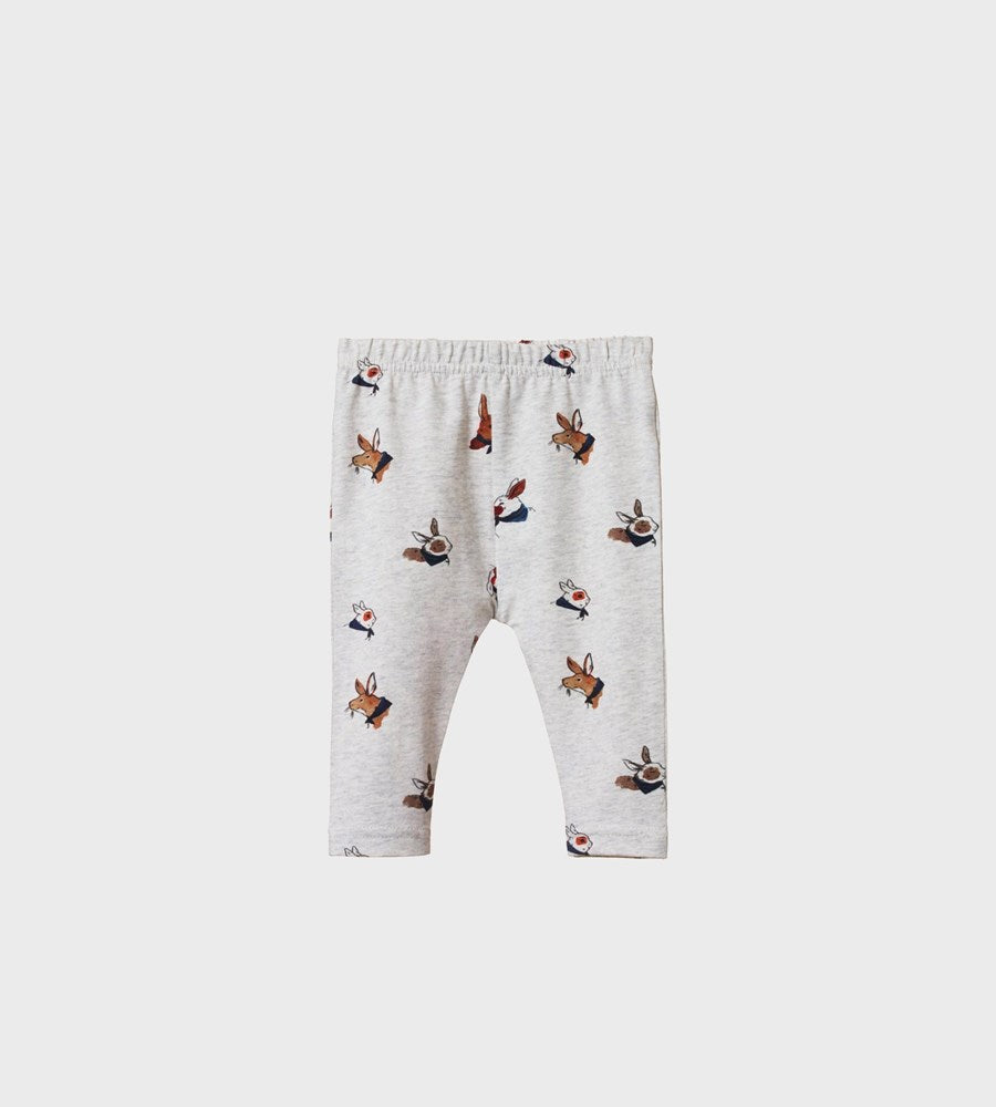 Nature Baby | Baby Leggings | Bunny Garden Light Grey Marl Print