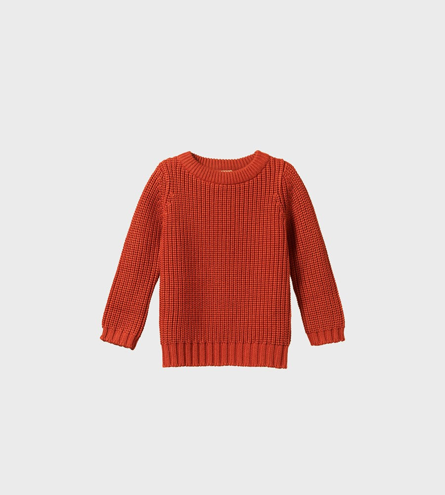 Nature Baby | Billy Jumper | Rust Chunky Knit