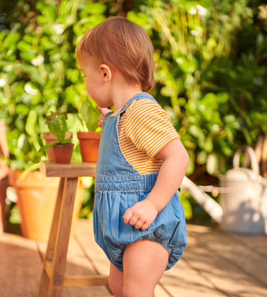 Nature Baby | Chambray Georgie Romper | Sky