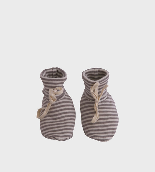 Nature Baby | Cotton Booties | Grey Marle Stripe