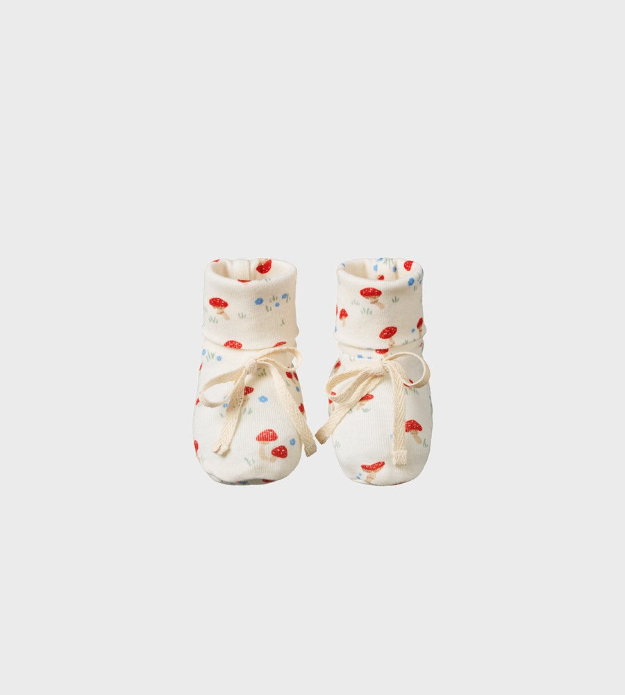 Nature Baby | Cotton Booties | Mushroom Valley Print