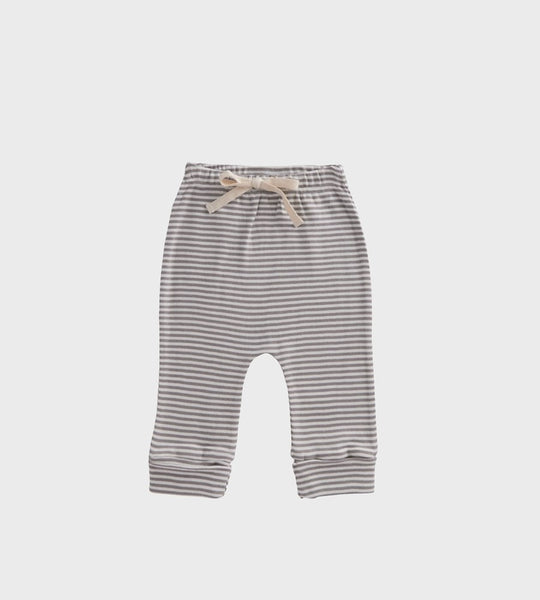 Nature Baby | Cotton Drawstring Pants | Grey Marle Stripe