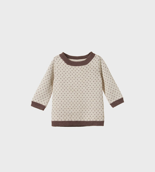 Nature Baby | Cotton Knit Billy Jumper | Truffle / Oatmeal Marl Winter Knit