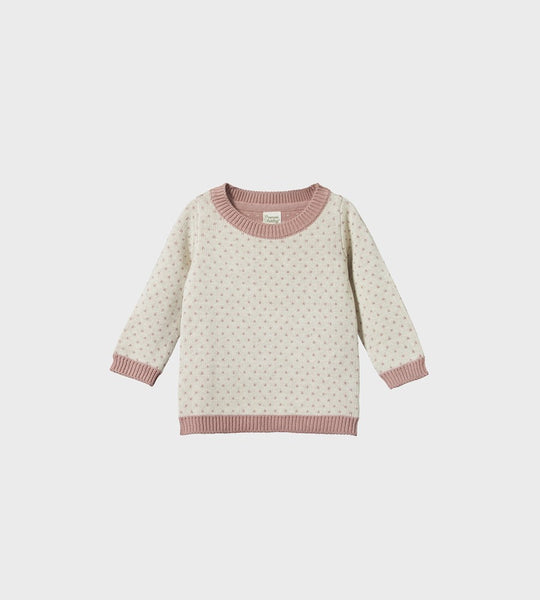 Nature Baby | Cotton Knit Billy Jumper | Tulip/Oatmeal Marl Winter Knit