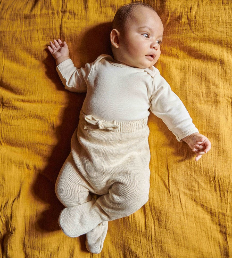 Nature Baby | Cotton Knit Footed Romper | Oatmeal Marl