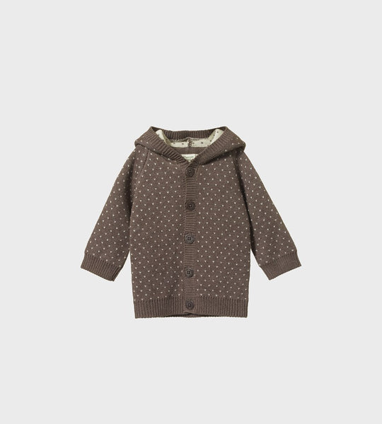 Nature Baby | Cotton Knit Oak Hoodie | Truffle Marl Winter Knit