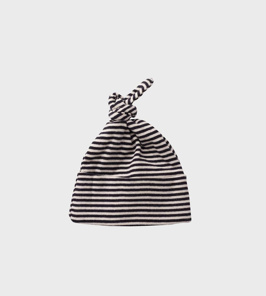 Nature Baby | Cotton Knotted Beanie Hat | Navy Stripe