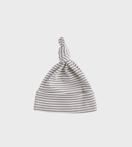 Nature Baby | Cotton Knotted Beanie Hat | Grey Marle Stripe