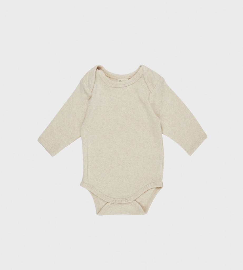 Nature Baby | Cotton Long Sleeve Bodysuit | Oatmeal Marle