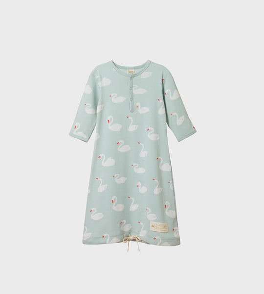 Nature Baby | Cotton Sleeping Gown | Swan Print