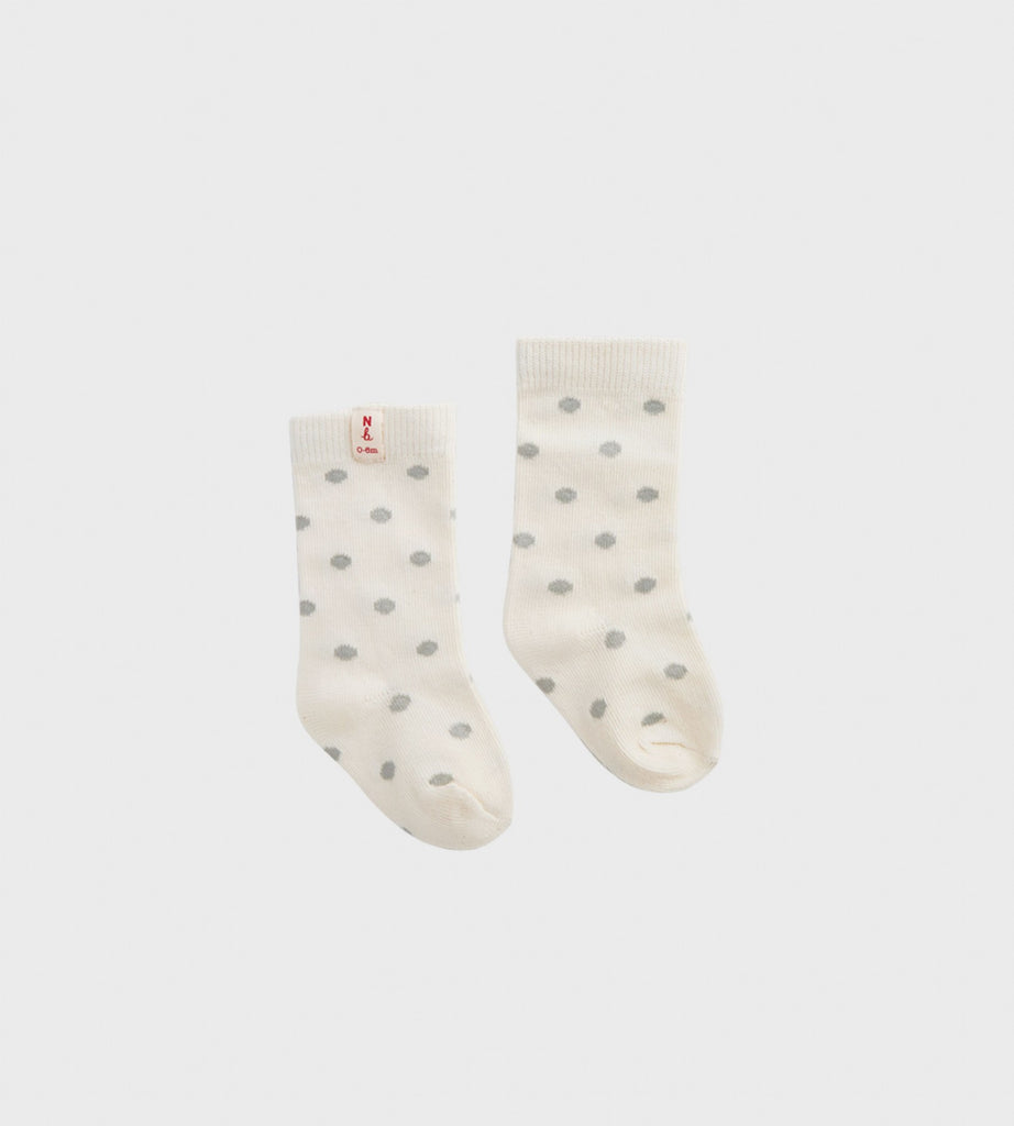 Nature Baby | Cotton Socks | Grey Polka Dot