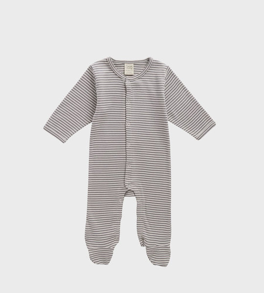 Nature Baby | Cotton Stretch & Grow One Piece | Grey Marle Stripe