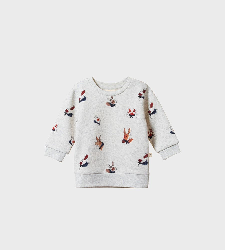 Nature Baby | Emerson Sweater | Bunny Garden Light Grey Marl Print