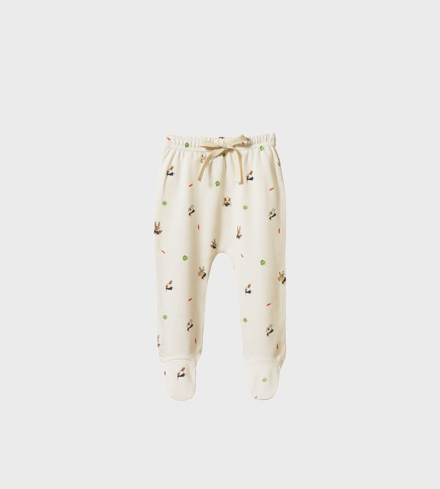 Nature Baby | Footed Rompers | Bunny Garden Print