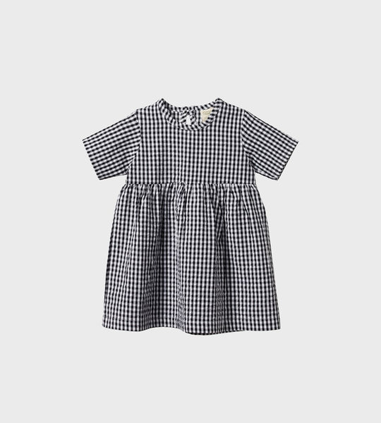 Nature Baby | Gingham Margot Dress | Navy Check