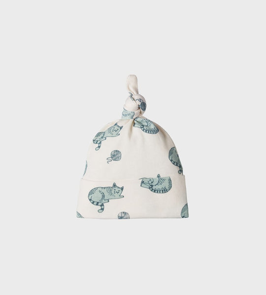 Nature Baby | Knotted Beanie | Sleepy Cat Print