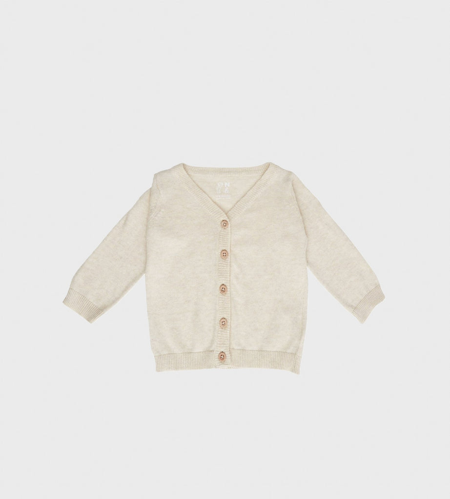 Nature Baby | Light Cotton Knit Cardigan | Oatmeal Marle