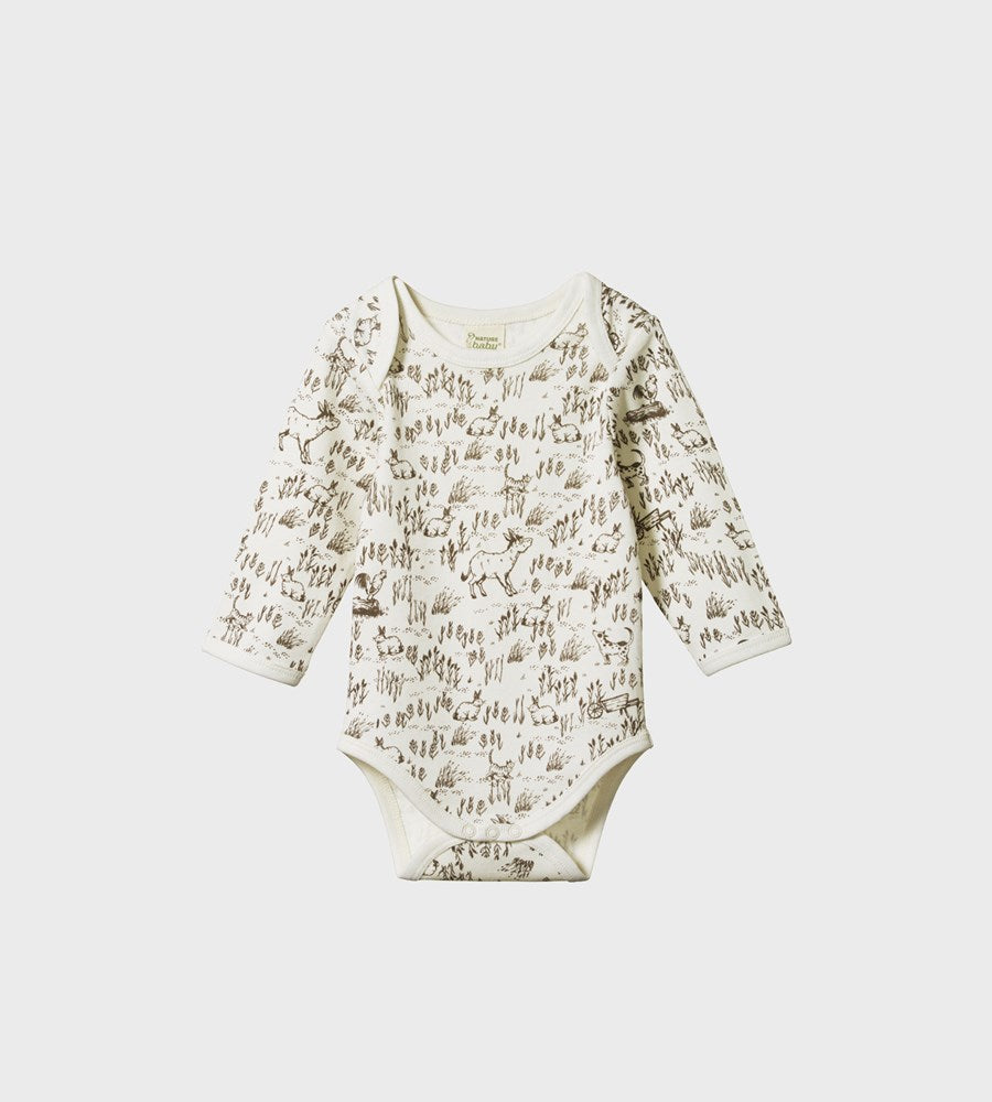 Nature Baby | Long Sleeve Bodysuit | Barnyard Print