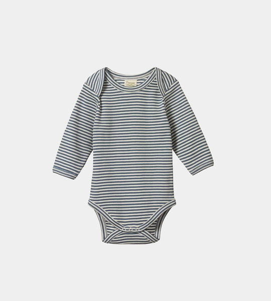 Nature Baby | Long Sleeve Bodysuit | Deep Blue Stripe