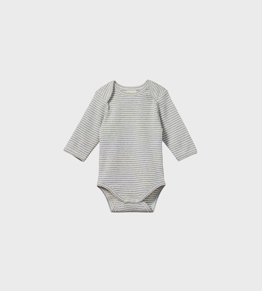 Nature Baby | Long Sleeve Bodysuit | Grey Marl Stripe