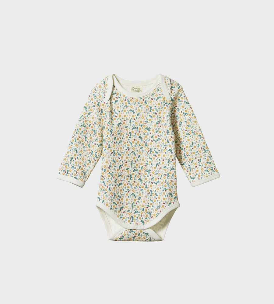 Nature Baby | Long Sleeve Bodysuit | June's Garden Print