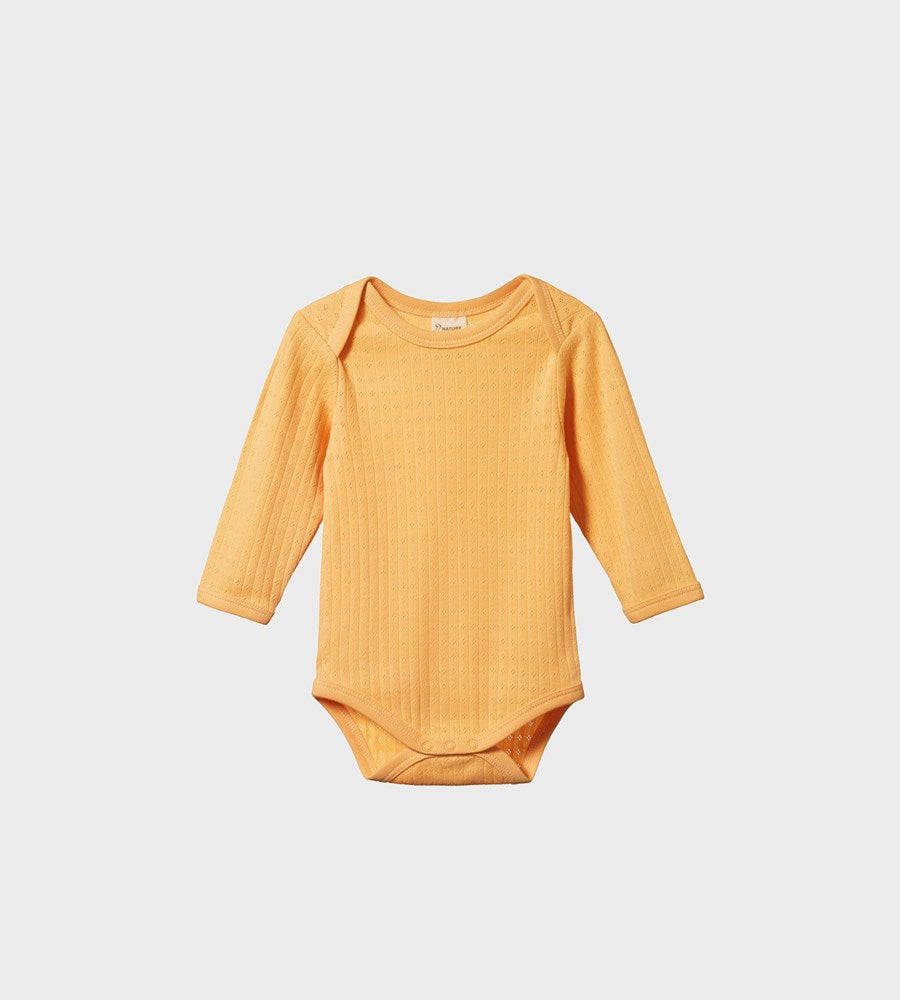 Nature Baby | Long Sleeve Bodysuit Pointelle | Lemon