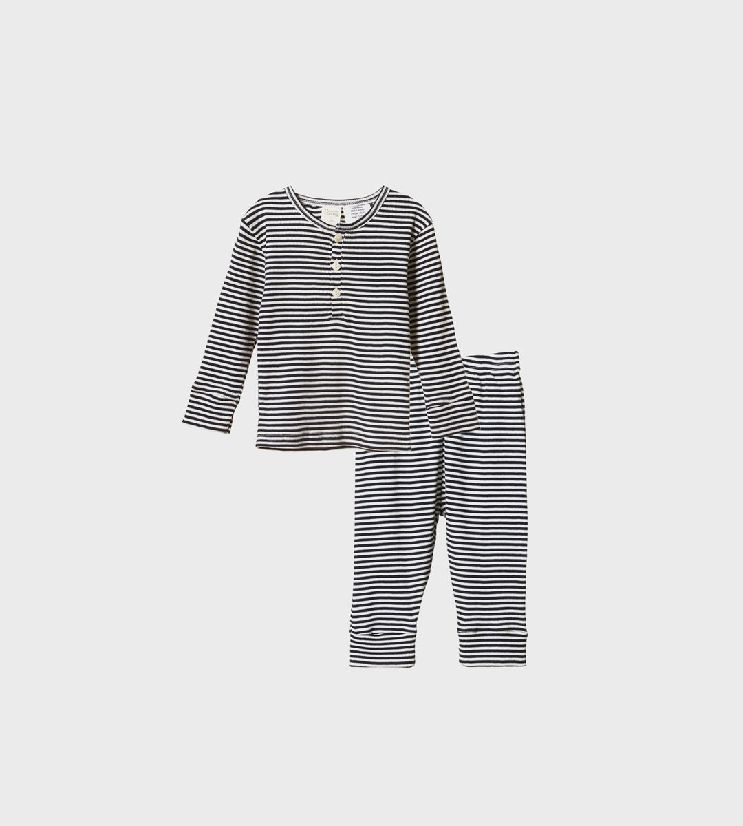 Nature Baby | Long Sleeve Cotton Rib Pyjamas | Navy Stripe