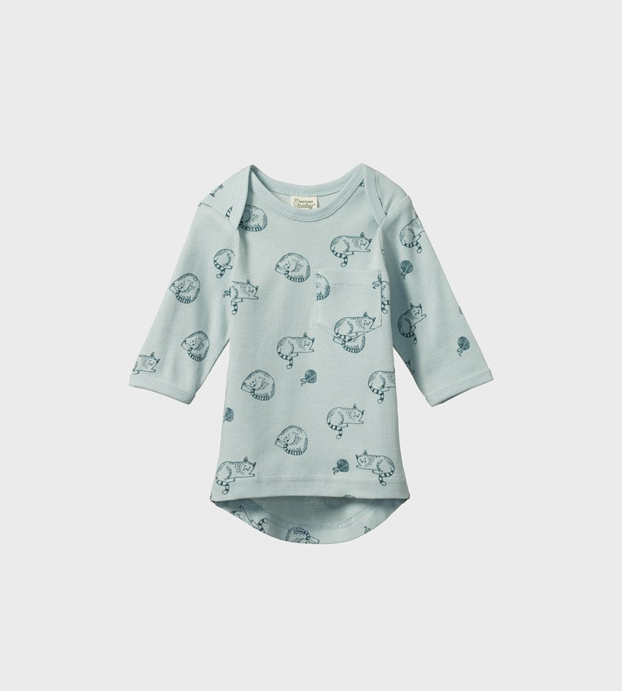 Nature Baby | Long Sleeve Pocket Tee | Sleepy Cat Print