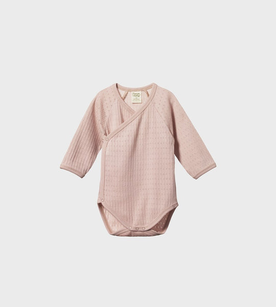 Nature Baby | Long Sleeve Pointelle Kimono Bodysuit | Rose Bud