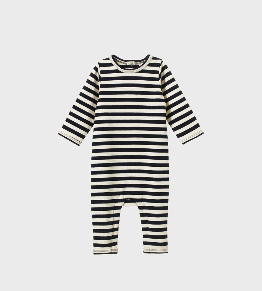 Nature Baby | Long Sleeve Quincy Romper | Navy Sea Stripe
