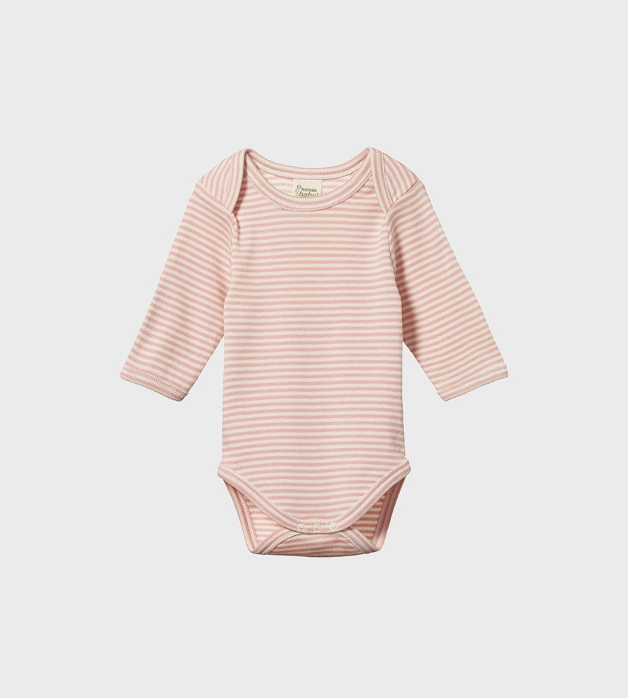 Nature Baby | Long Sleeve Bodysuit | Rose Bud Stripe