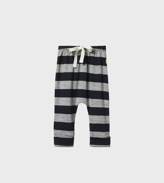 Nature Baby | Merino Drawstring Pants | Navy/Grey Marl Bold Stripe